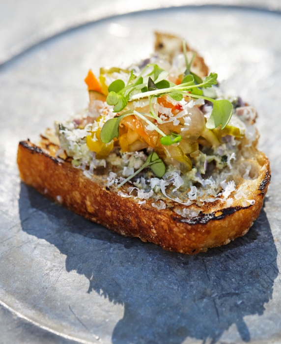 Toasted bread with toppings