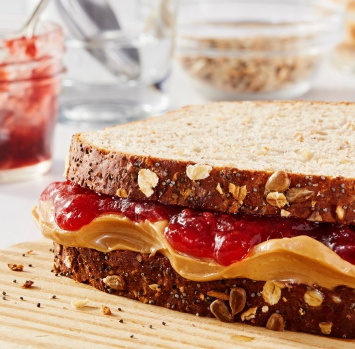 Fresh baked bread with peanut butter and jelly
