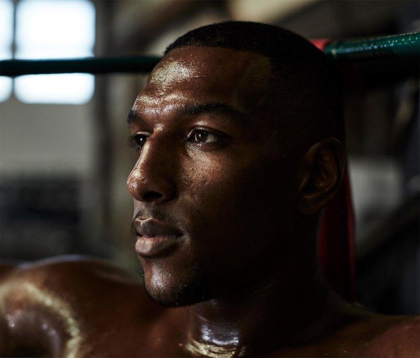 Close up portrait of male athlete