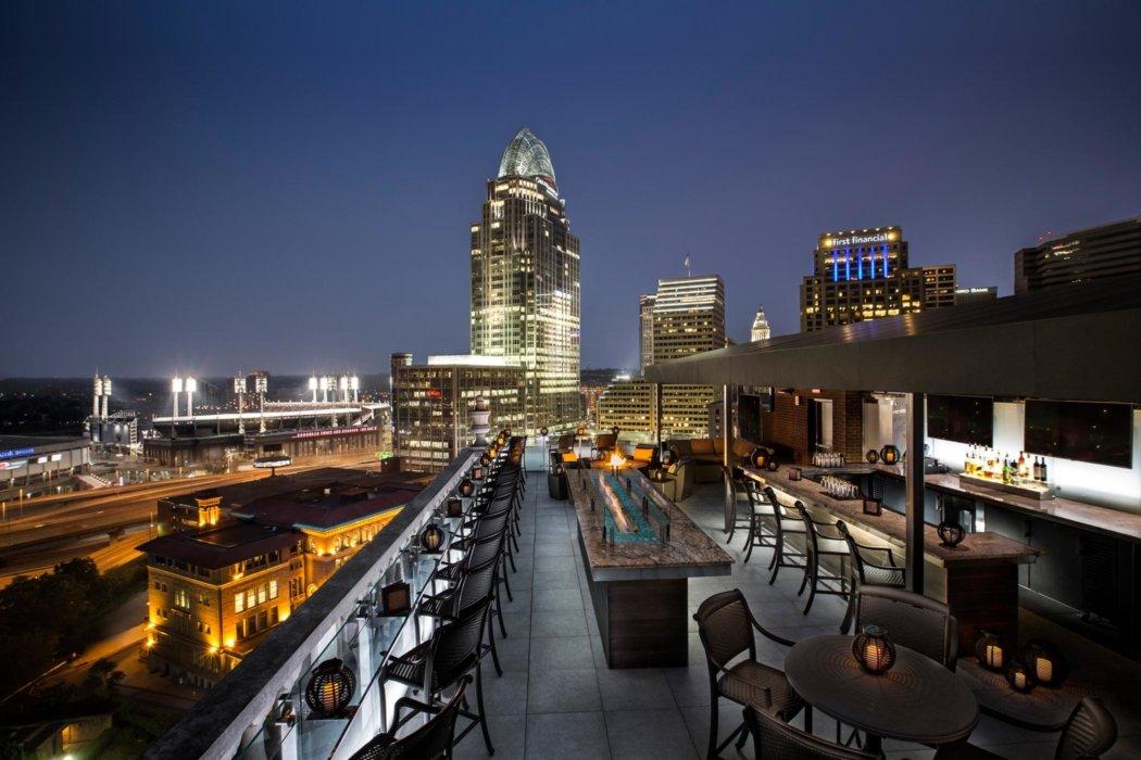 Exterior of a hotel roof top bar Cincinnati