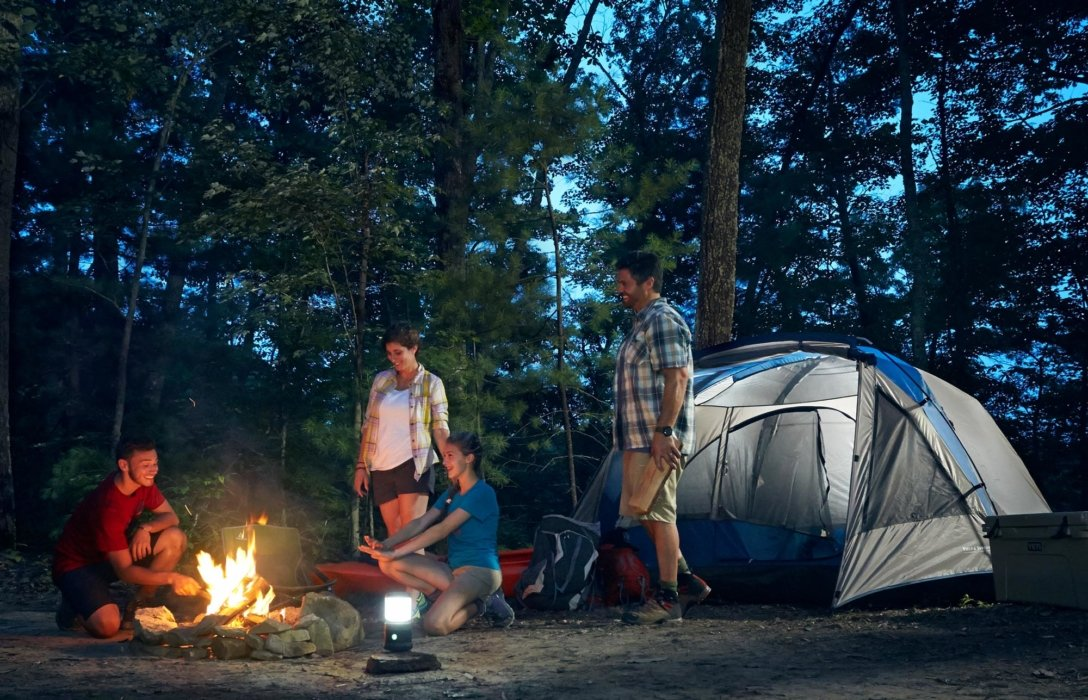 A family camping using outdoor products