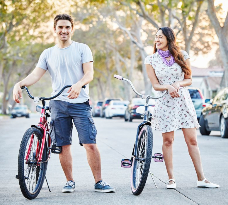 couple with bikes on a road lifestyle - lifestyle photography