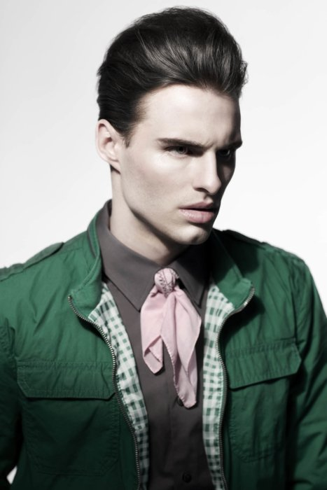 Fashion photography of a man wearing trendy green clothes