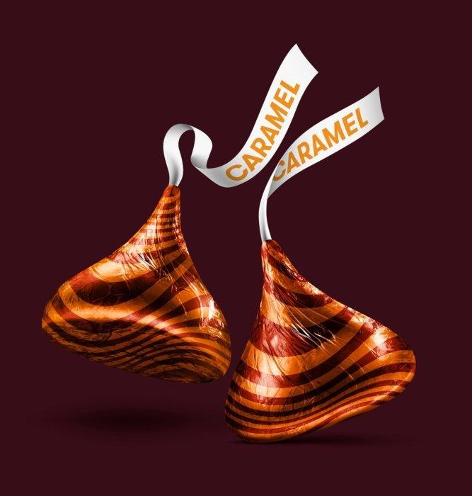Two caramel Hershey kisses