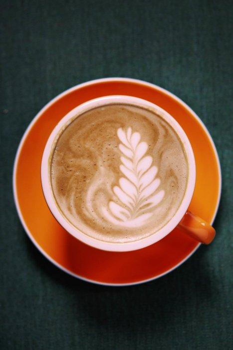 A tasty coffee latte drink