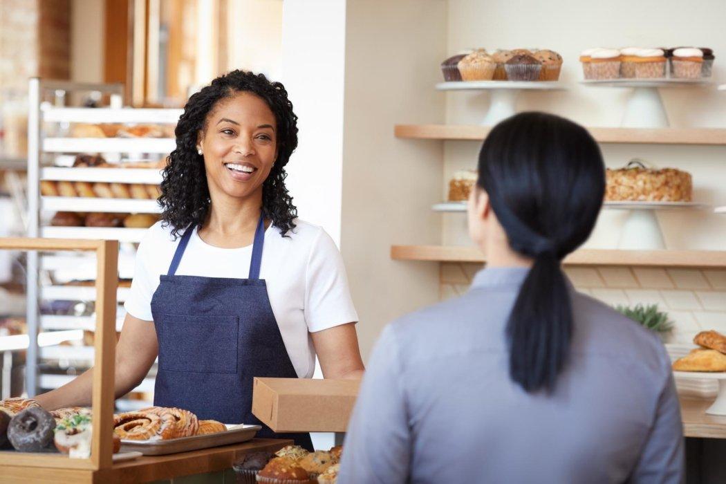 A woman at a bakery