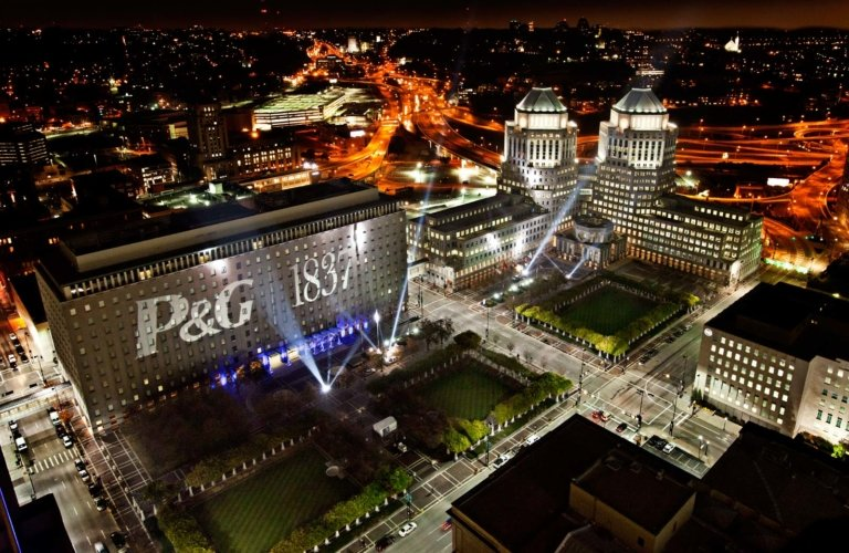P&G Building shot at night