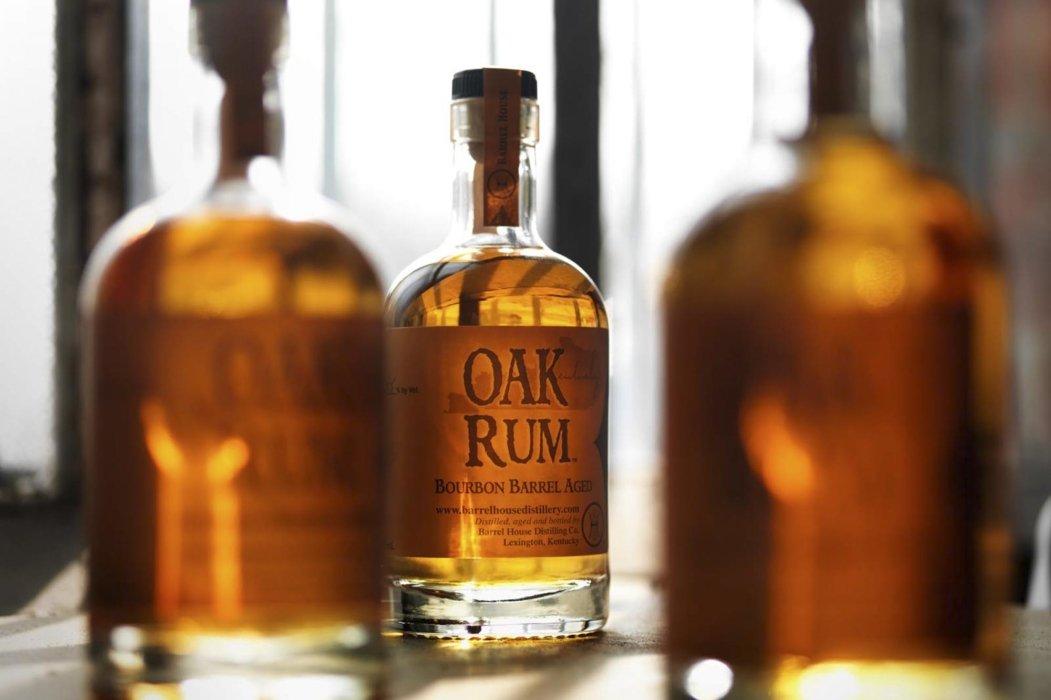 Oak rum bottles