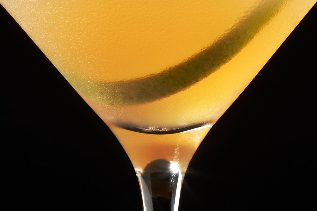 Close up of cocktail drink in a stemmed glass