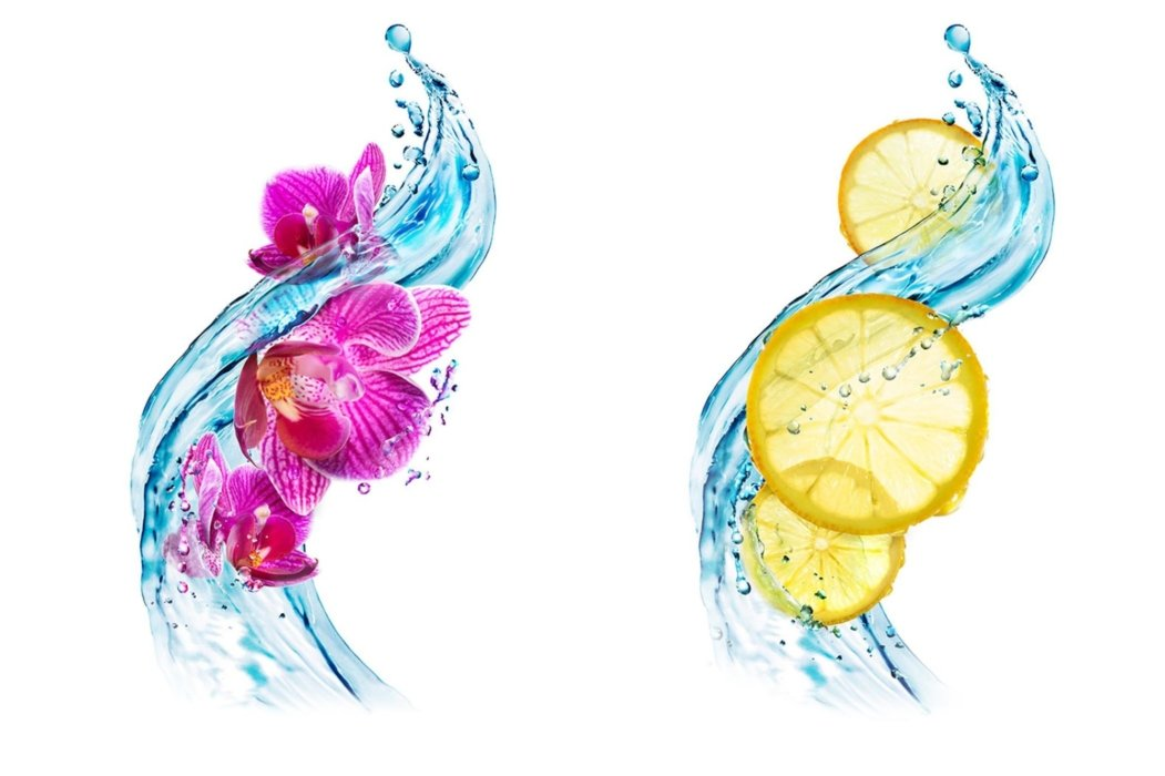 A swirling splash of water with fruits and flowers