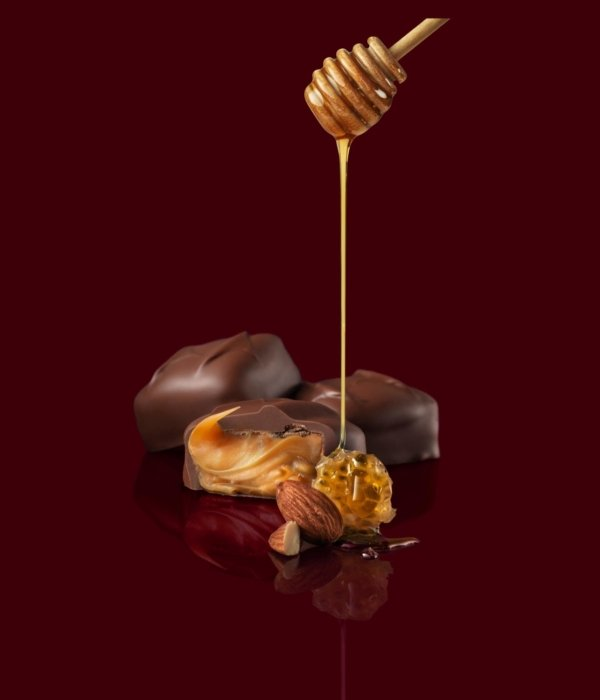 Chocolate honey almond truffle with a honey drizzle