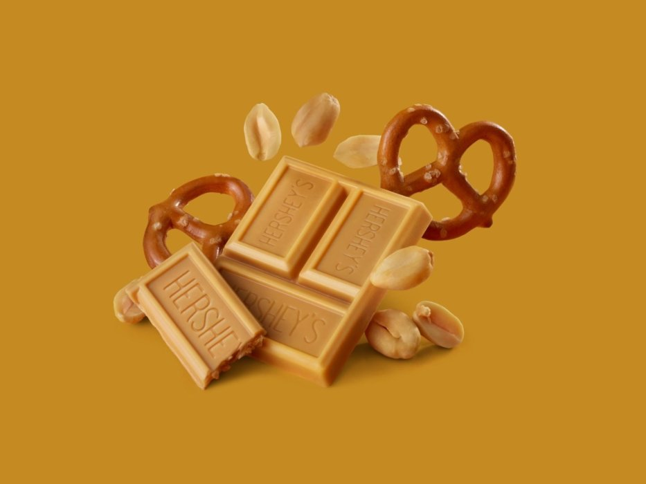 Peanut chocolate with floating pretzels