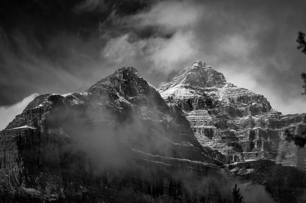 Dark mountain peaks