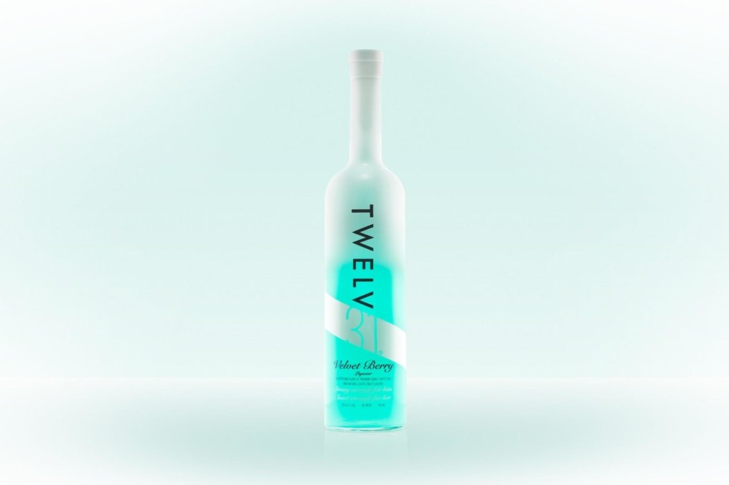 Twelve liquor bottle on a pale green background