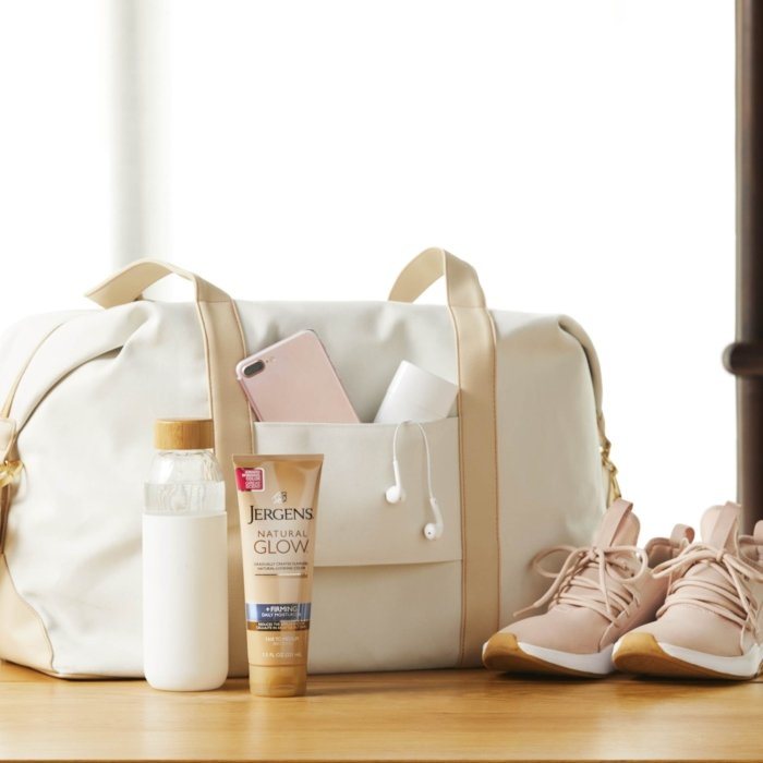 Jergens social media photography - beauty products with bag and shoes