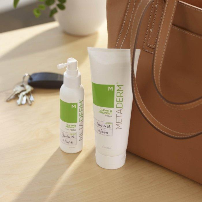 Skin products near a bag