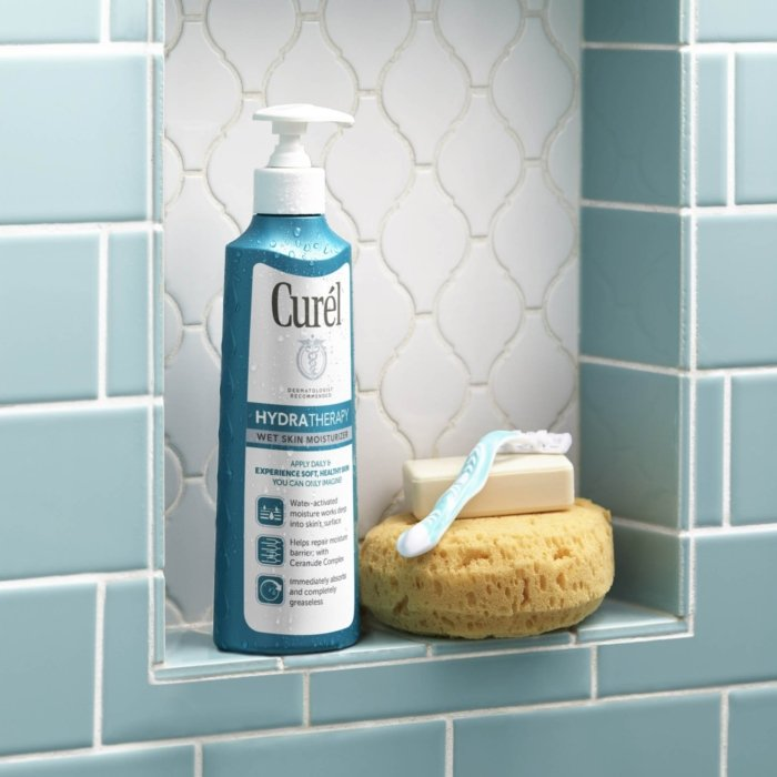 Curel product in a bathroom setting - product photography