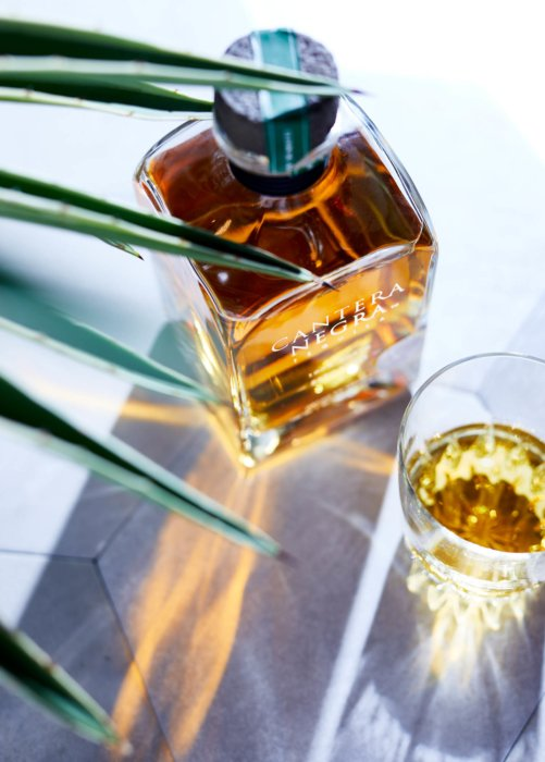 View of Cantera Negra and glass Product drink photography