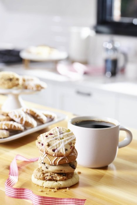 Food photography a stack of cookies with coffee for product packaging