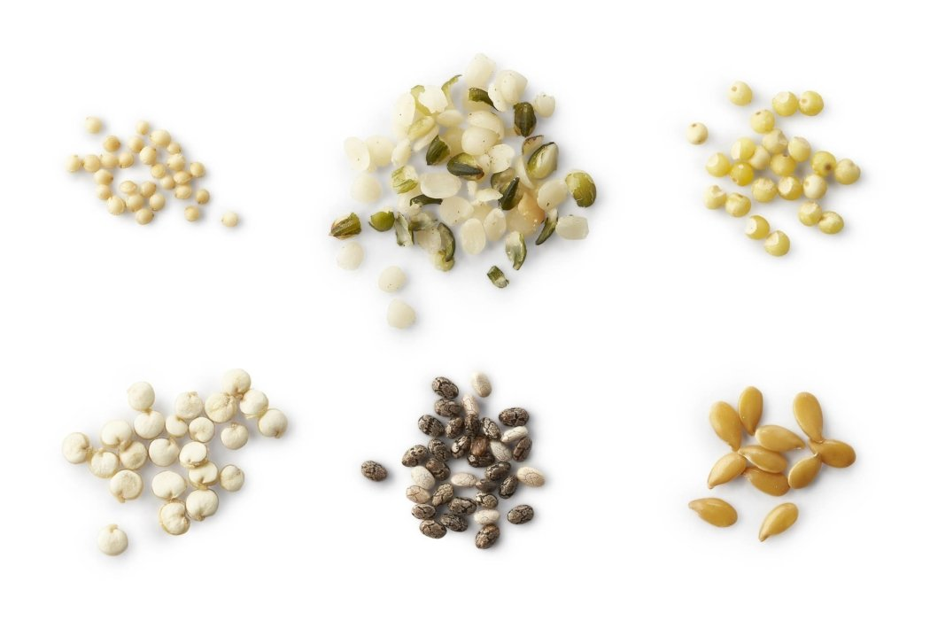Food photography - Ancient grains on white for packaging
