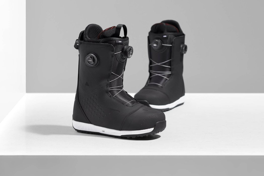 Product photography - two ski boots with BOA fit system