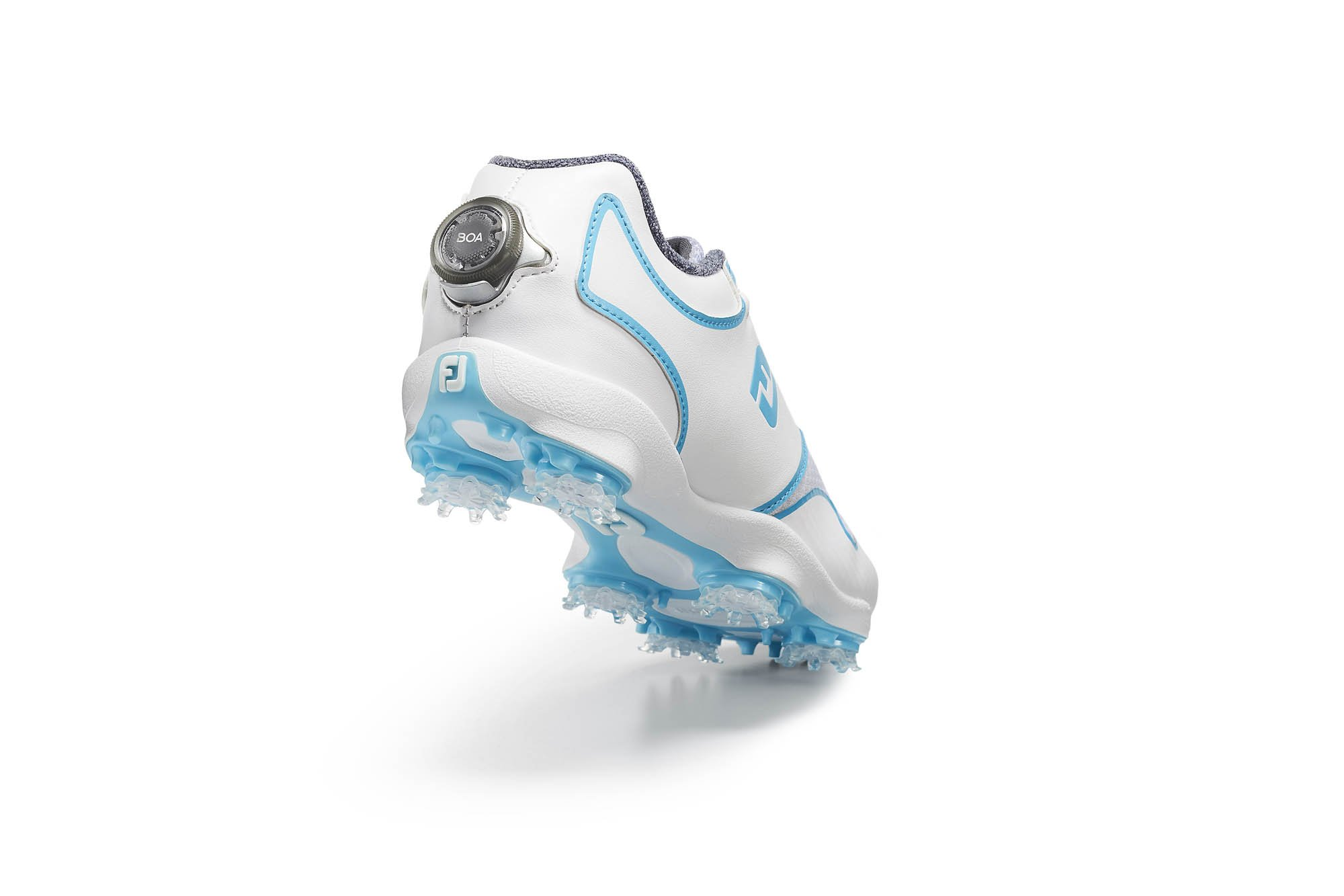 Product photography - A FJ white and blue shoe with the BOA running shoe