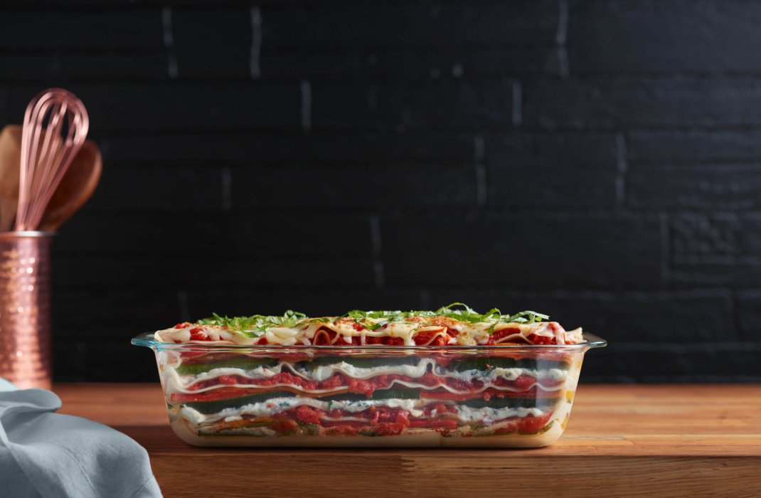 Pyrex filled with veggie lasagna - food styling