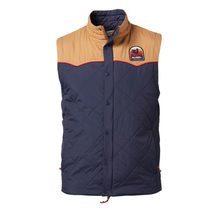 hollow-man ecommerce photo of a rural cloth vest blue - apparel photography