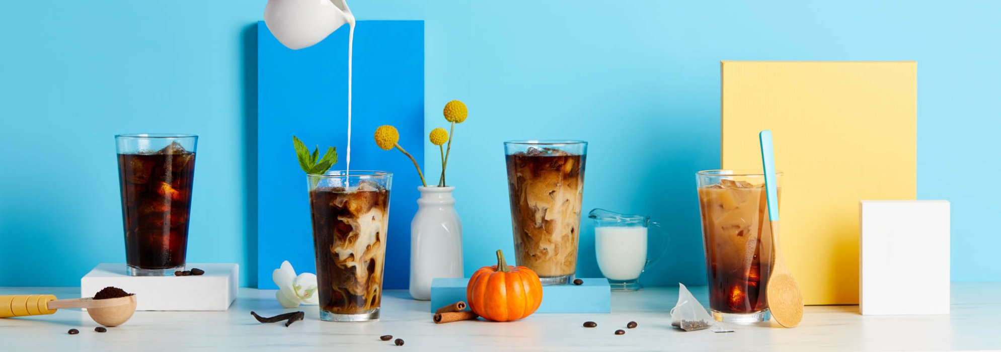 coffee pours - Iced coffee - modern - colorful - food photography