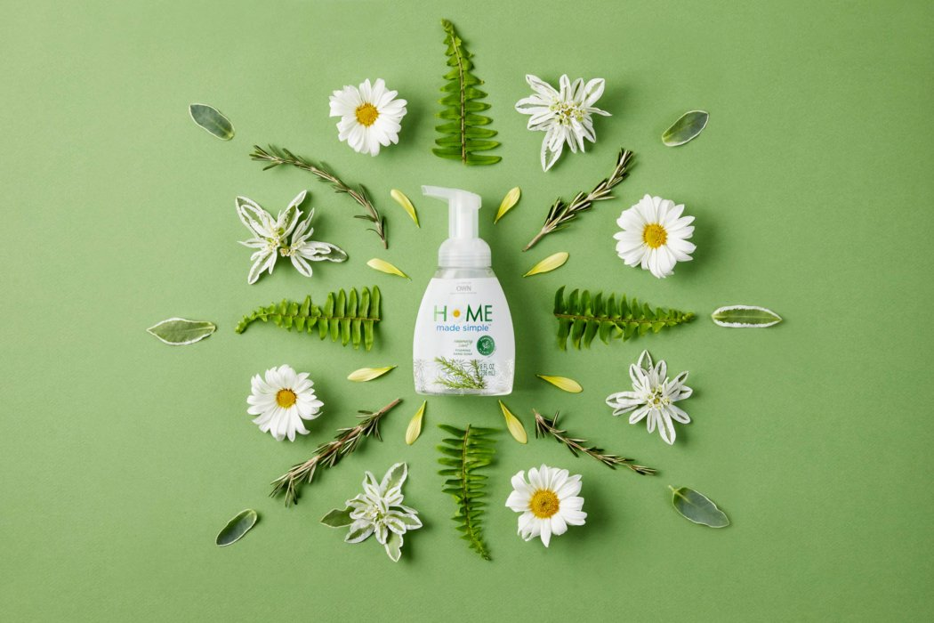 Home made simple product surrounded by plants - product photography