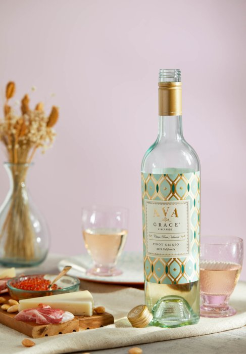 Ava grace pinot grigio around cheese aged meats and wine glasses - Drink Photography