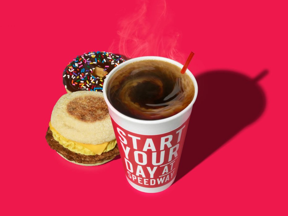 Speedway breakfast food with hot coffee food photography