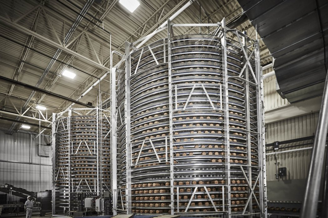An industrial sized cooling rack for bread