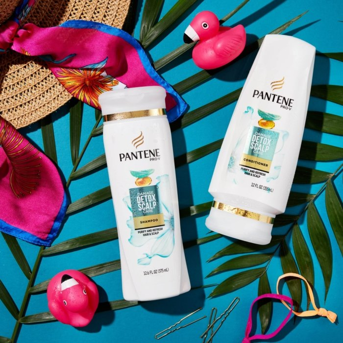 Pantene beauty beach products with a flat lay - bold colors - product photography