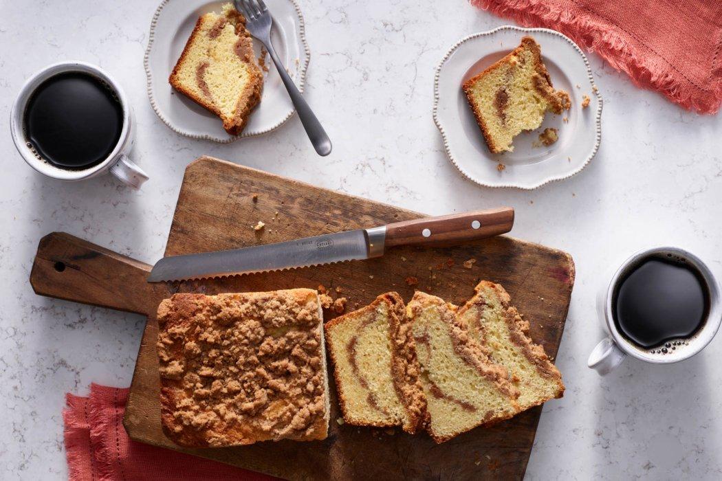 Coffee and fresh backed cinnamon pound cake
