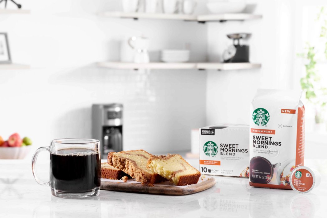 Starbucks coffee products with baked goods