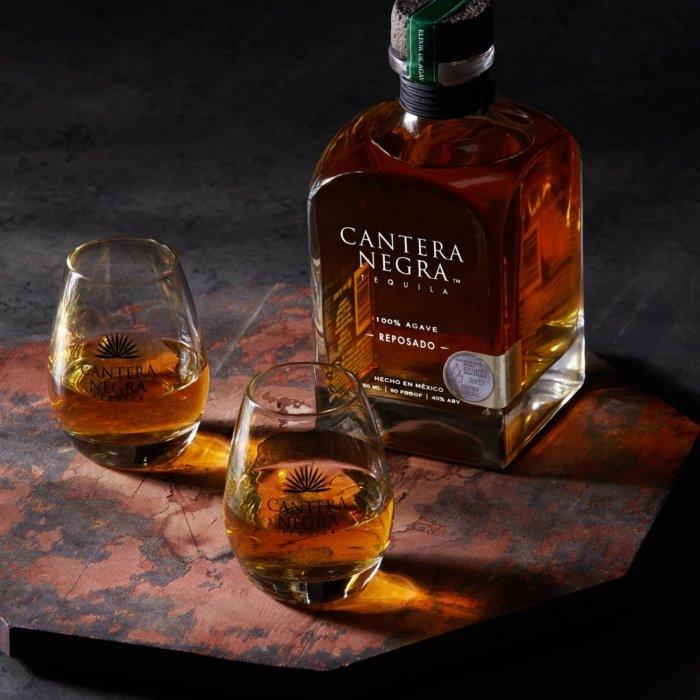 Two glasses of cantera negra tequila reposado