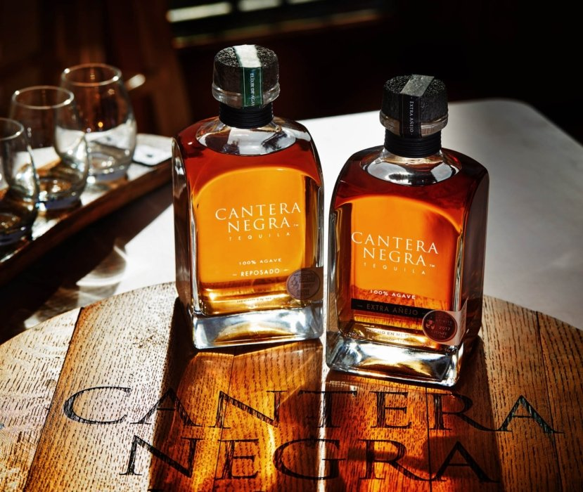Two bottle of tequila reposado and extra anejo on a wooden serving tray