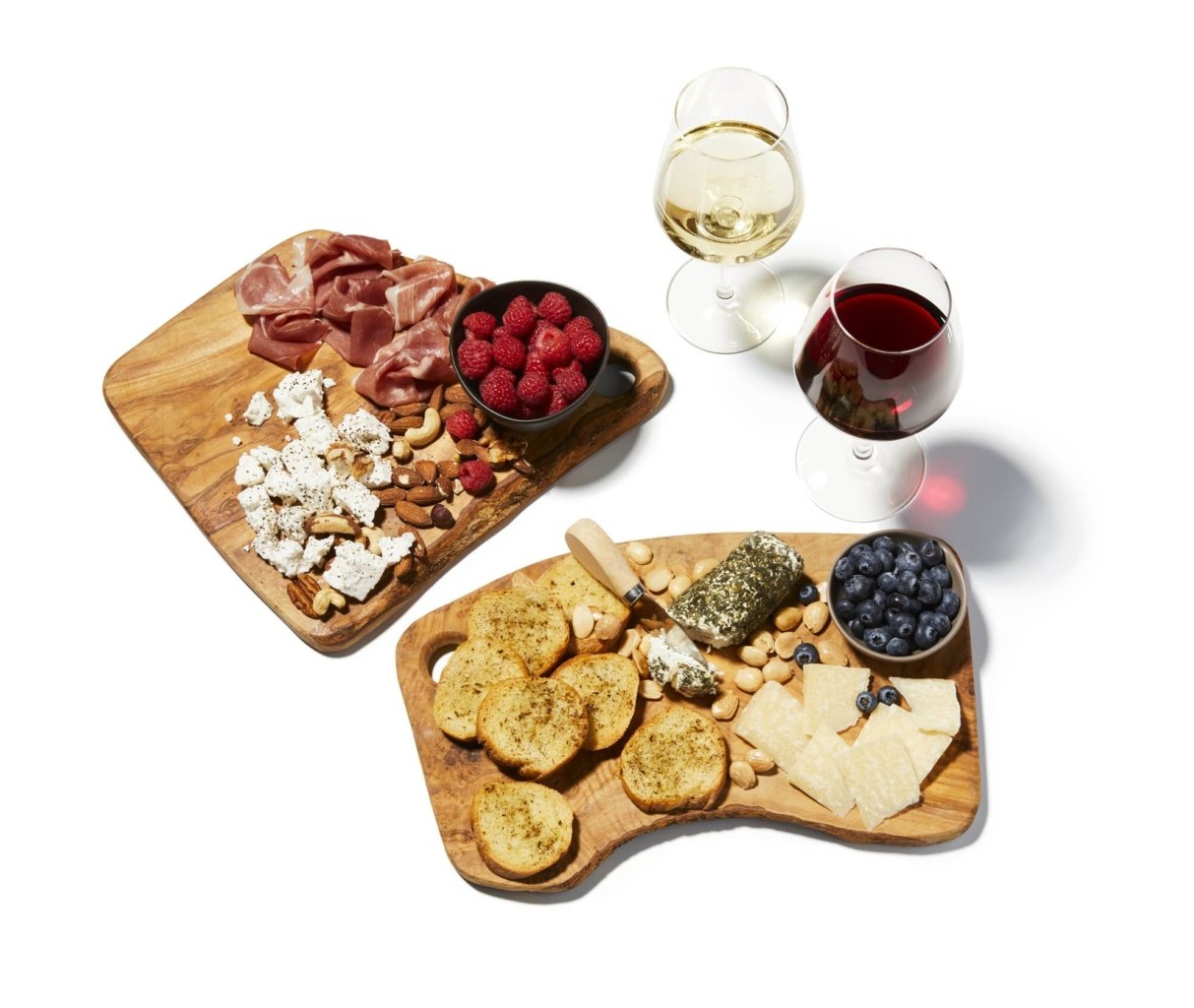 charcuterie board with white wine and red wine