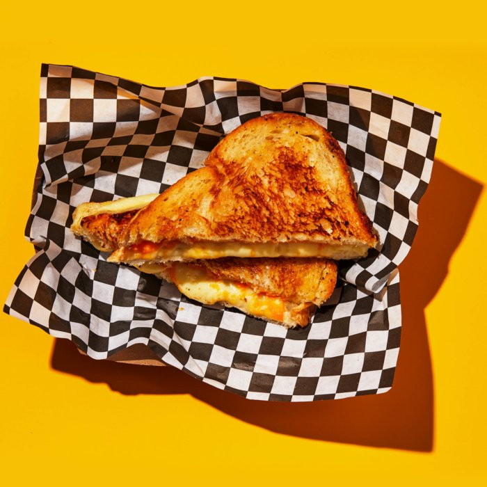 Grilled Cheese on a yellow background - food photography