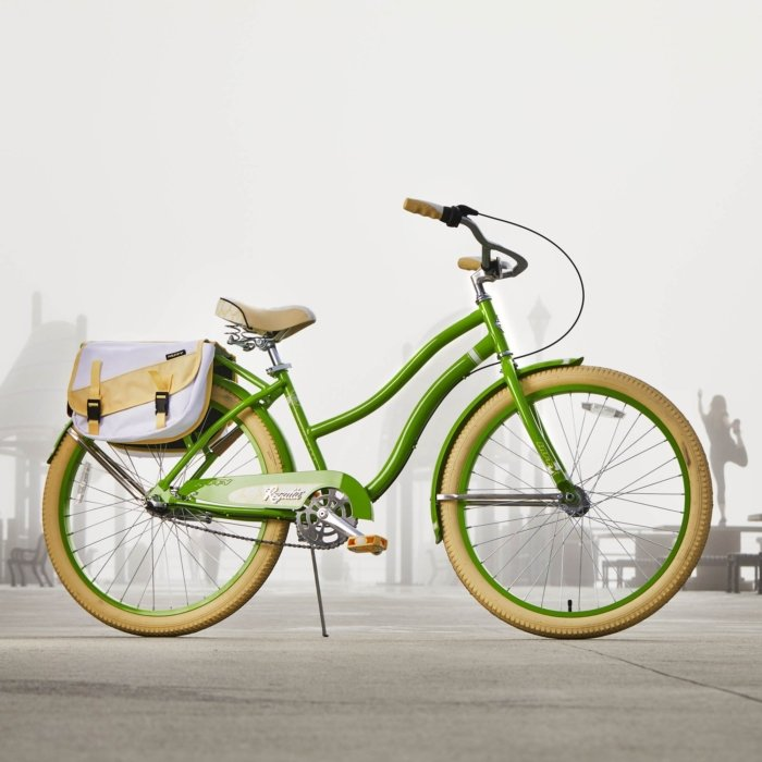 green and yellow bike with a yellow and white book bag on the back product sport