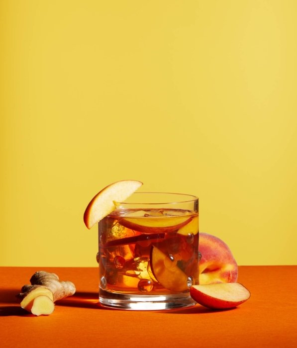 A ginger peach cocktail - drink phtoography