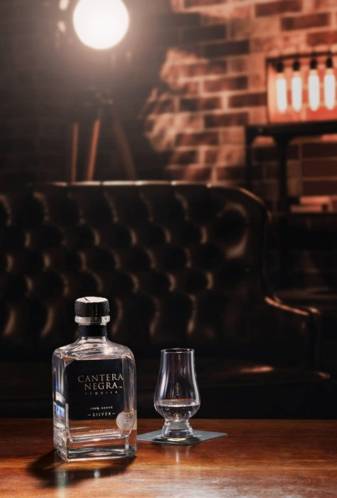 Some Cantera Negra silver tequila in a lounge setting