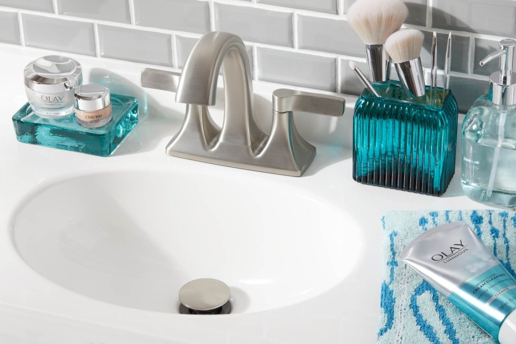 Olay products on a bathroom sink - social media photography - product photography
