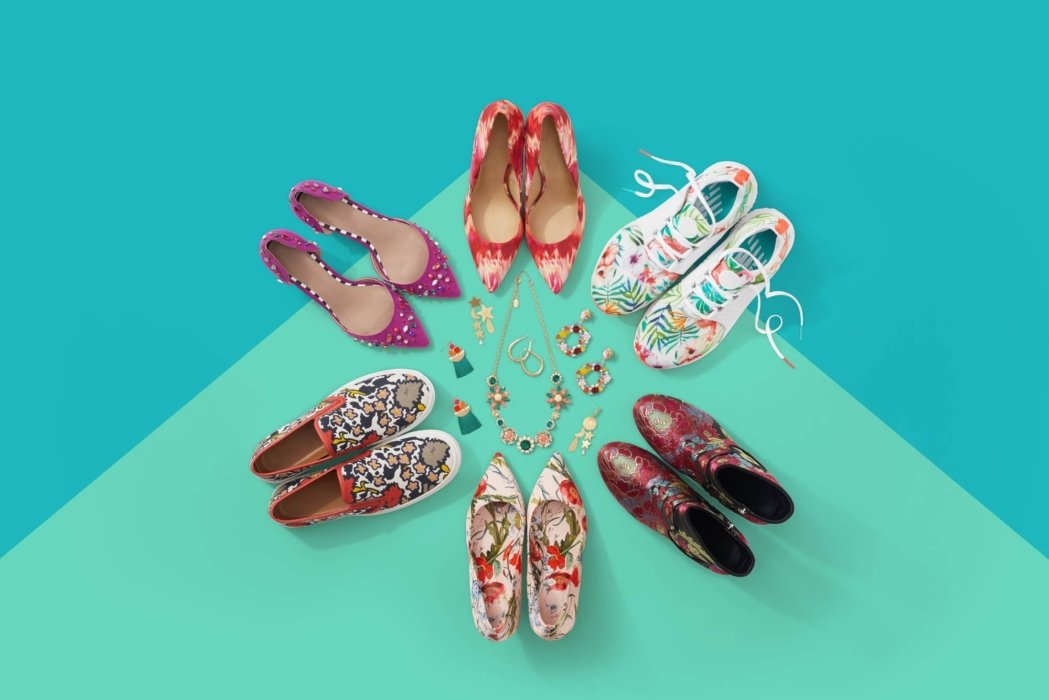 Colorful shoes arranges on a vibrant background