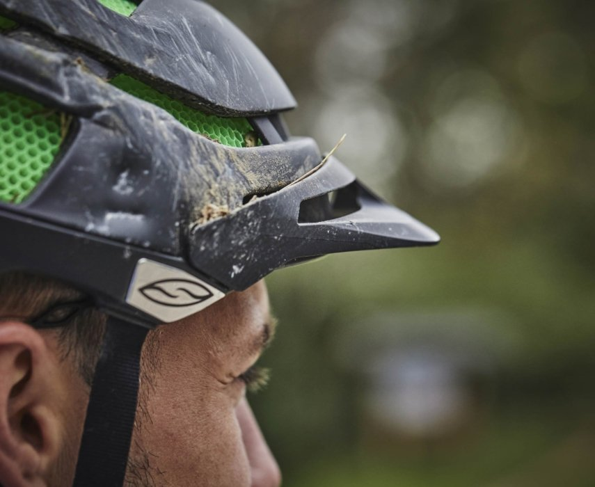 A cyclists hat while wearing a sport something