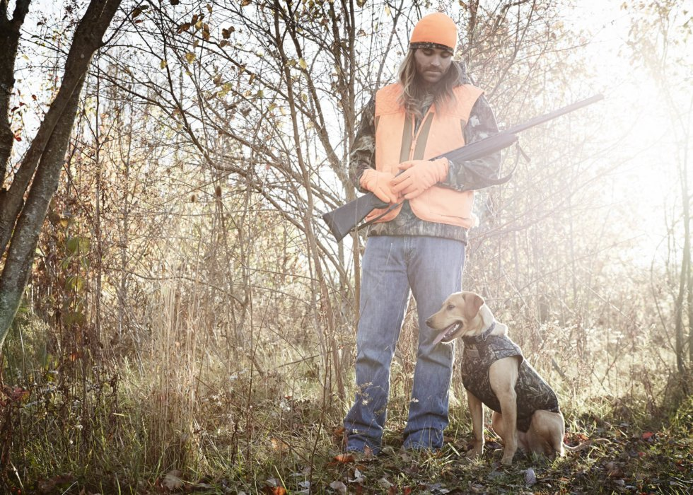 A hunter and dog standing in the brush of a wood