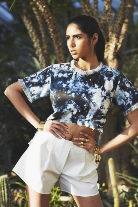 A fashion model wearing clothes in an urban style -