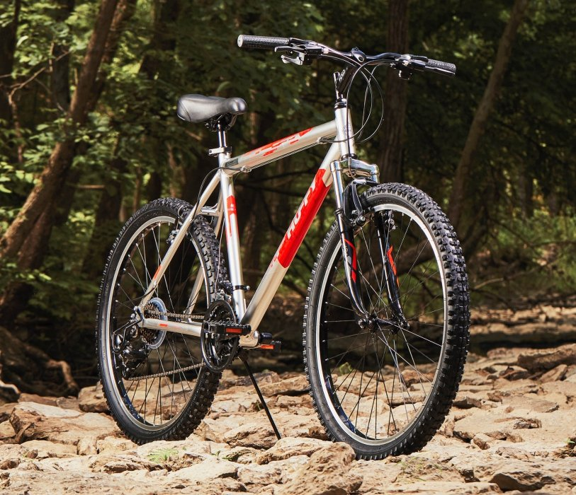 A huffy bike on a dried creek bed - product photography
