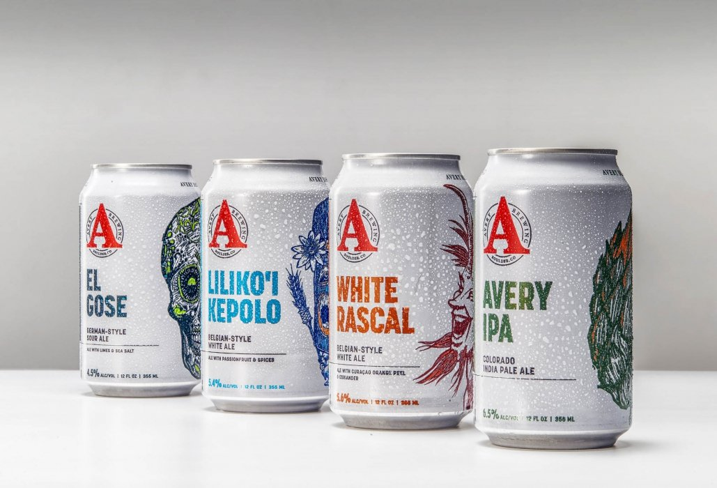 Avery brewing company beer cans with condensation - drink photography